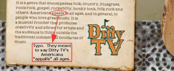 "Ditty TV's Americana, Where ""Ditty"" Rhymes with…"